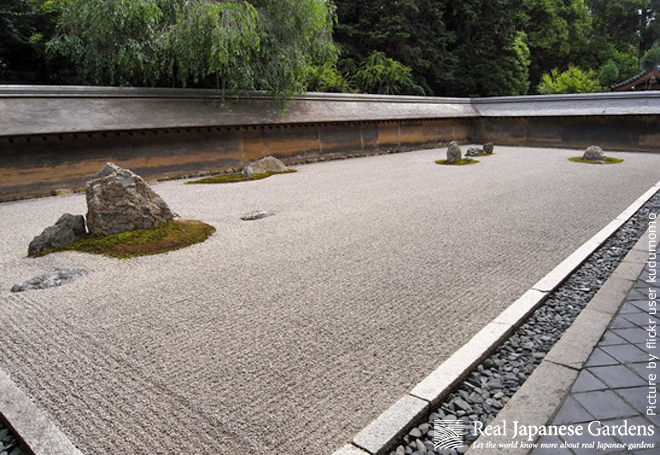 Gravel area in front of a temple hall